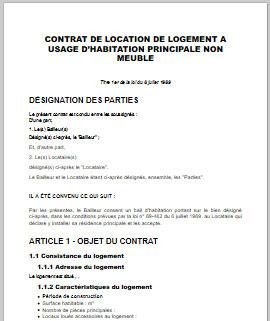 modele contrat location bail habitation