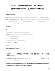 67e94850327 Avenant au contrat de travail - Modèle d avenant - LegalPlace