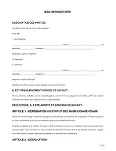Bail pr caire mod le de bail d rogatoire imprimer - Contrat location meuble courte duree ...