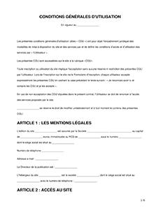 Conditions Generales D Utilisation Modele Gratuit Et Guide