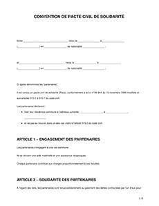 Convention De Pacs Modele Word Pdf A Telecharger