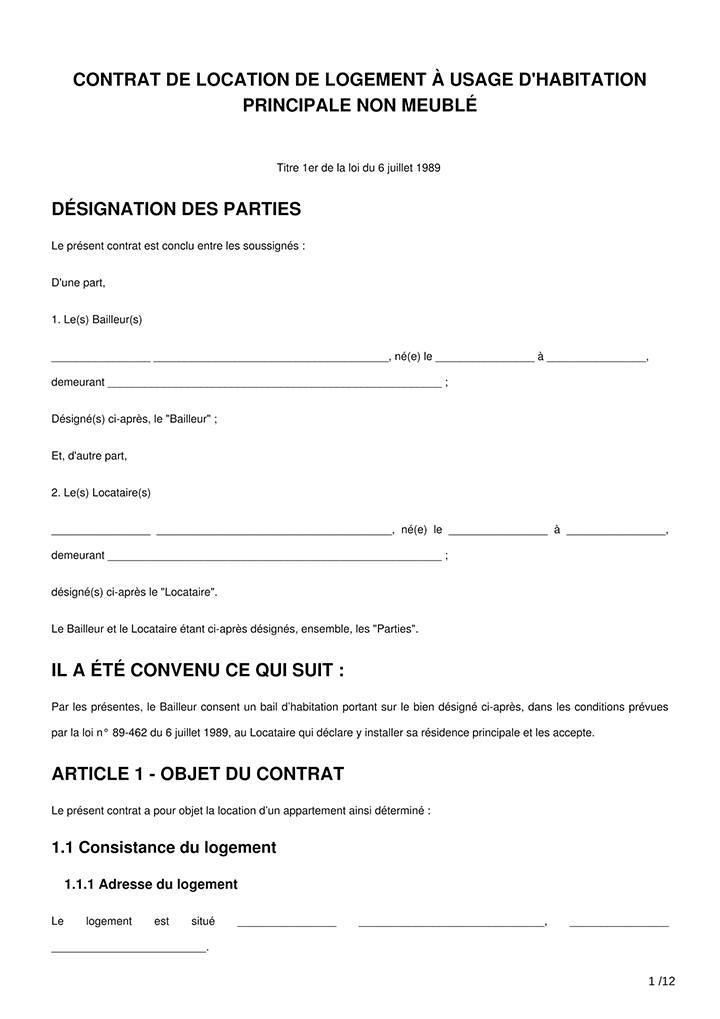 Contrat de location vide mod le bail non meubl e imprimer - Location meublee documents a fournir ...