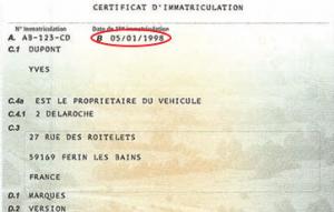 Champ B : Date de la première immatriculation du véhicule