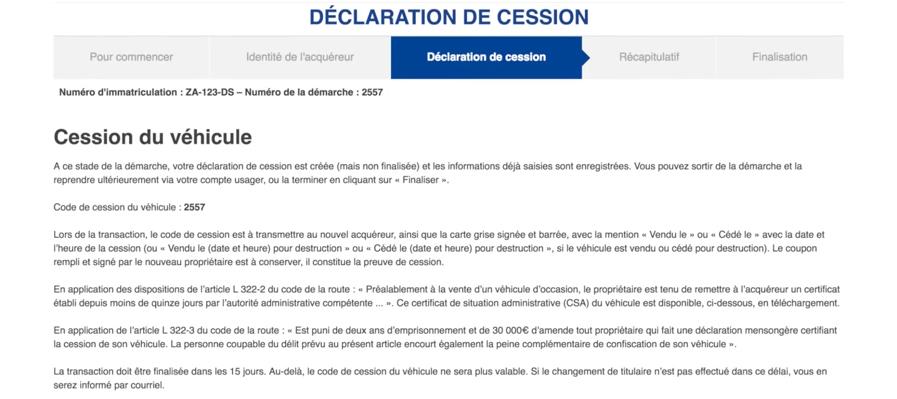 carte grise code de cession Code de cession d'un véhicule : comment l'obtenir