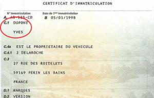 Champ C.1 : le nom du titulaire du véhicule