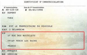 Champ C.3 : Adresse principale du titulaire du véhicule