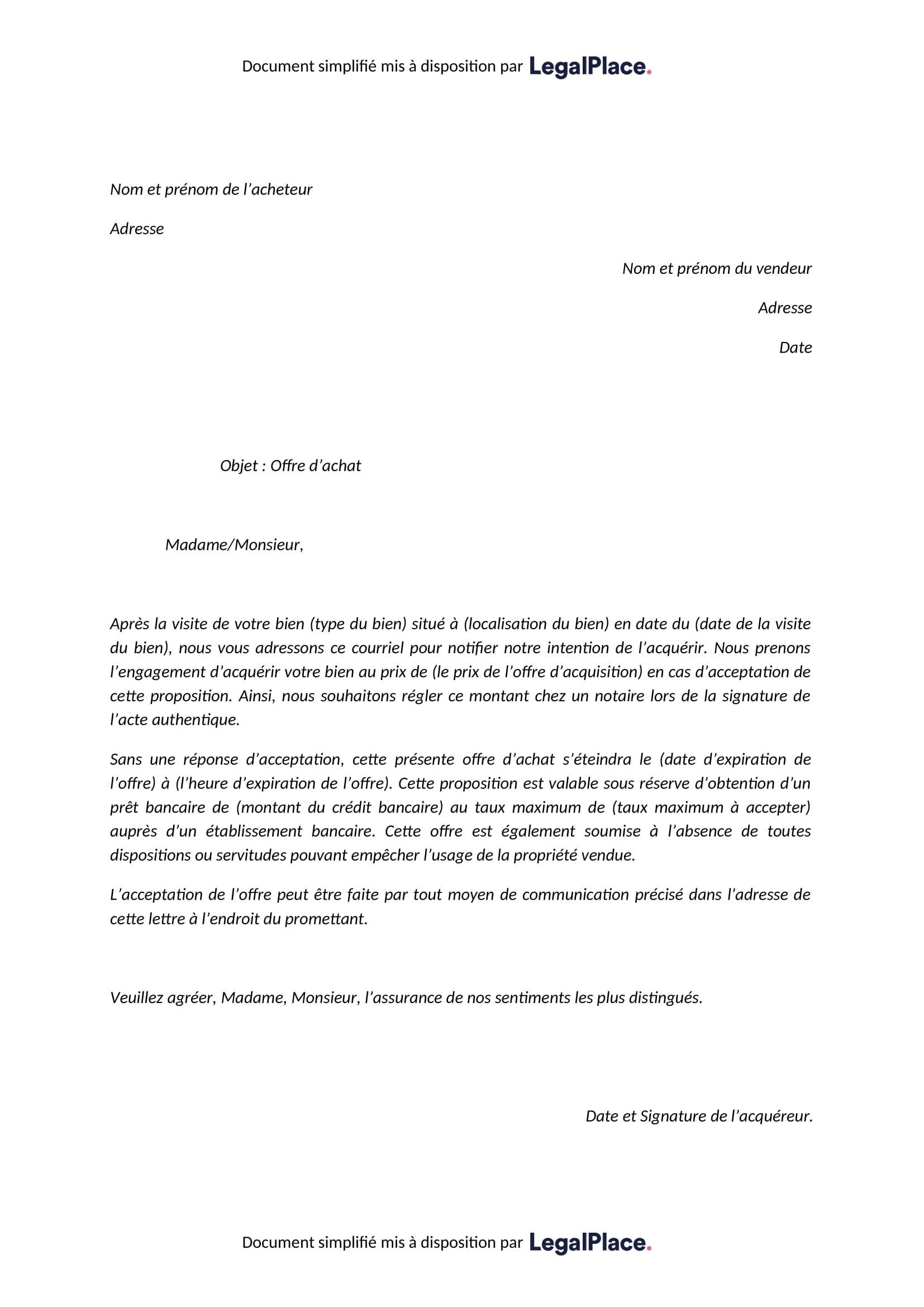 Modele D Offre D Achat A Telecharger Gratuitement
