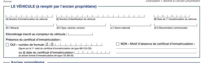Cerfa n°15776*01 - Section 1 (véhicule)