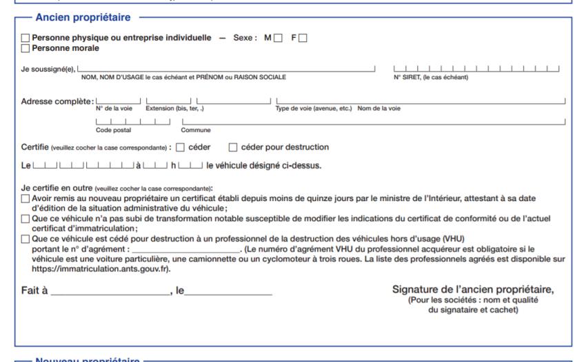 Cerfa n°15776*01 - Section 2 (ancien propriétaire)