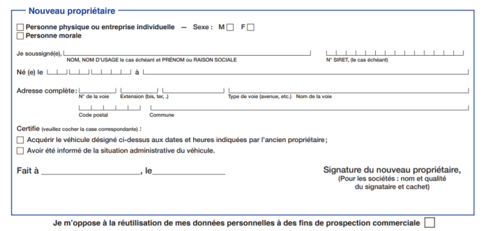 Cerfa n°15776*01 - Section 3 (nouveau propriétaire)
